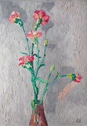 Pink Carnations by Leila Barton - Original Painting, Canvas on Board sized 18x26 inches. Available from Whitewall Galleries